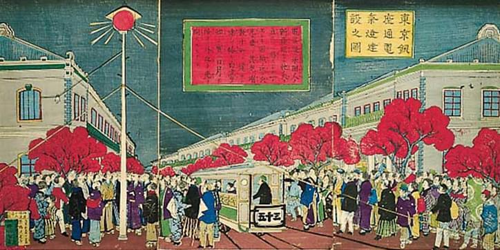 東京銀座通電気燈建設之図(重清)