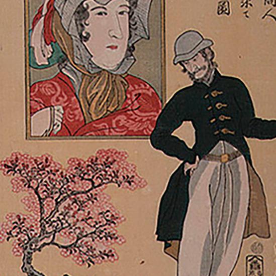 亜墨利加之商人小樹之桜を求て大に歓喜之図