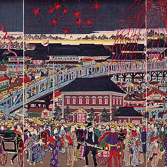 東京両国橋川開大花火之図