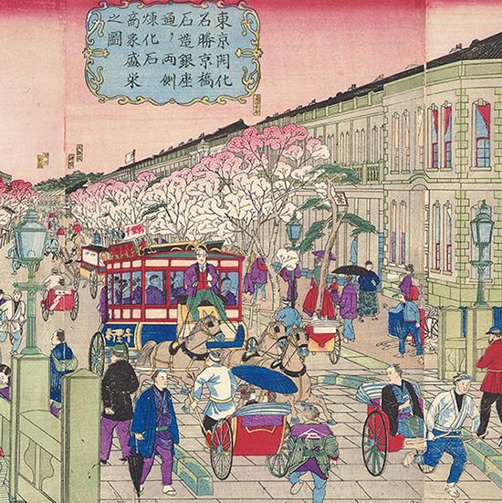 東京開化名勝京橋石造銀座通り両側煉化石商家盛栄之図
