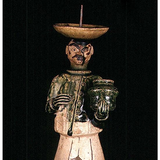 美濃 青織部南蛮人燭台