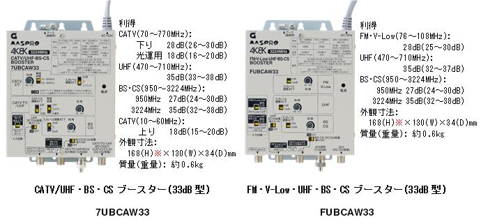 CATV/UHF・BS・CSブースター 33dB型 7UBCAW33、FM・V-Low・UHF・BS・CSブースター 33dB型 FUBCAW33