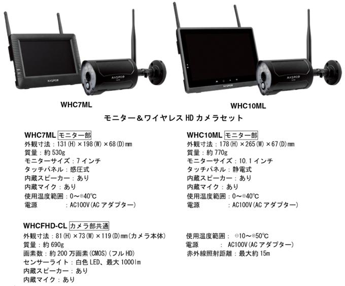 モニター&ワイヤレスHDカメラセットWHC7ML,WHC10ML