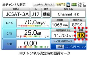 受信レベル、BER、MER、放送局名をひと目で確認できる測定画面